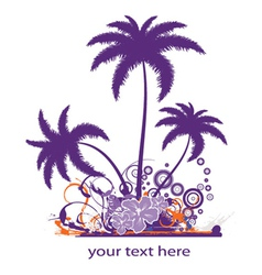 palm trees with grunge vector image