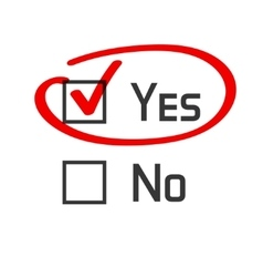 Yes no checked with red marker line vector image