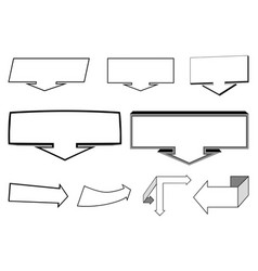 a set of 2d and 3d arrows elements vector image vector image
