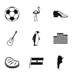 Attractions of argentina icons set simple style vector