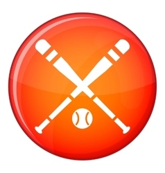 Baseball bat and ball icon flat style vector