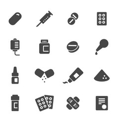 Black pills icons set vector