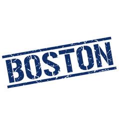 Boston blue square stamp vector