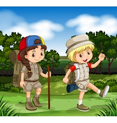 Boy and girl hiking in the park vector image