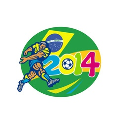 Brazil 2014 soccer football player retro vector