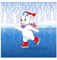 Cute cartoon polar bear ice skating with winter vector