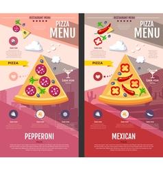 Flat style pizza menu design vector image