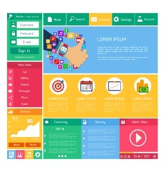 Flat website template vector