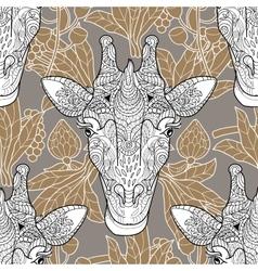 Giraffe head seamless pattern beige background vector