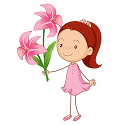 Girl and pink lilies vector image