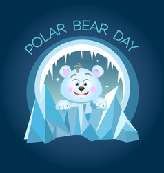 Greeting card polar bear day night vector