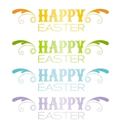 Happy easter text lettering holiday modern flat vector