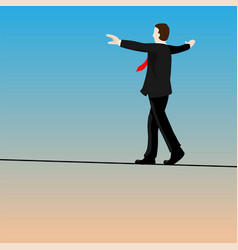 Isolated businessmen walking tightrope- vector