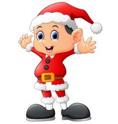 Kid waving wearing santa costume vector