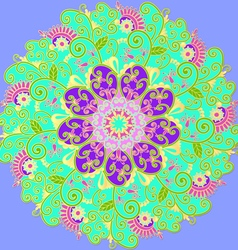 Mandala with colored ornaments for design vector