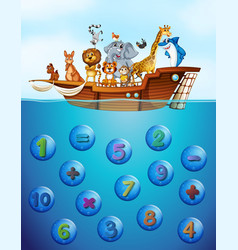 numbers underwater and animals on the ship vector image vector image