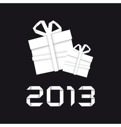 Origami christmas gift vector image
