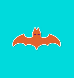 Paper sticker on stylish background halloween bat vector