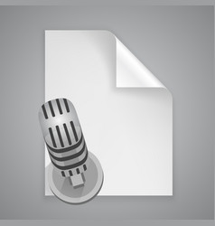 paper symbol microphone vector image vector image