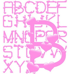 pink hearts alphabet vector image vector image