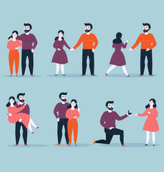 relationship stages from dating to engagement vector image