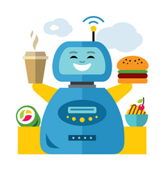robot waiter flat style colorful cartoon vector image