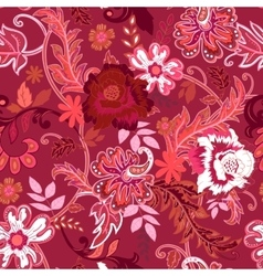 Seamless floral background Colorful red and white vector image vector image