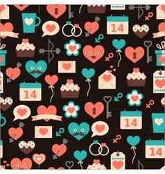 seamless pattern for Valentine day on dark backg vector image