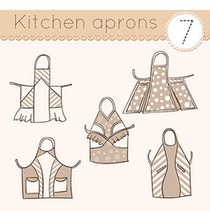 set of kitchen aprons 7 vector image vector image