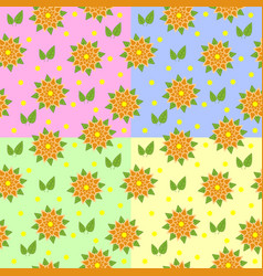 set of seamless patterns of orange flowers with vector image vector image