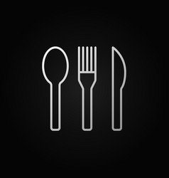 spoon fork and knife linear icon or sign vector image vector image