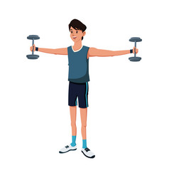 sport man dumbbell strong exercise vector image vector image