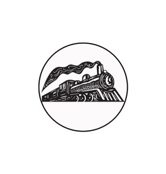 Steam train locomotive coming up circle woodcut vector
