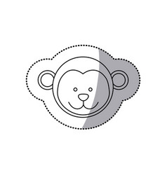 Sticker monochrome contour with male monkey head vector