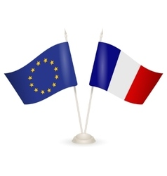Table stand with flags of France and European vector image vector image