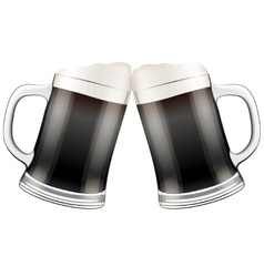 Two dark beer mugs clink vector