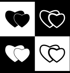 Two hearts sign black and white icons and vector