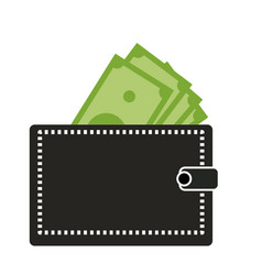 wallet with dollars icon on white background vector image vector image