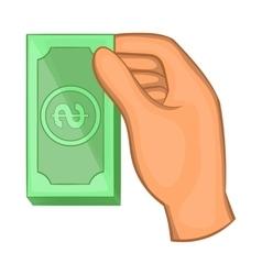Hand holding dollar bills icon cartoon style vector image