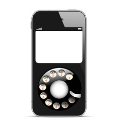Creative mobile phone with retro disc dials vector