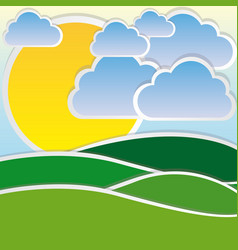 color sun with cloud and mountain icon vector image