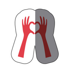 sticker colorful hands forming heart icon flat vector image
