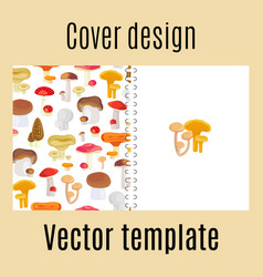 cover design with forest mushrooms pattern vector image