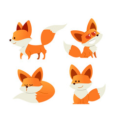 Fox- modern set of flat vector