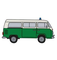 Old police minivan vector
