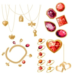 Set with rings gems and bracelet vector