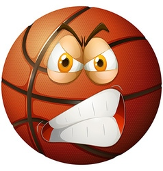 Angry face on basketball vector image