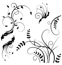 Wild flower silhouettes vector