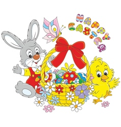 Easter card with Bunny and Chick vector image