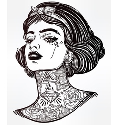 Adult coloring of young tattooed girl vector